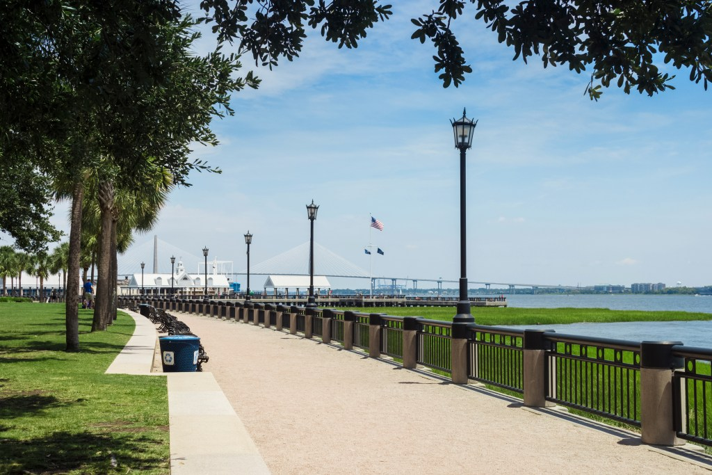 the walkway looking out towards Charleston Waterfront Pier