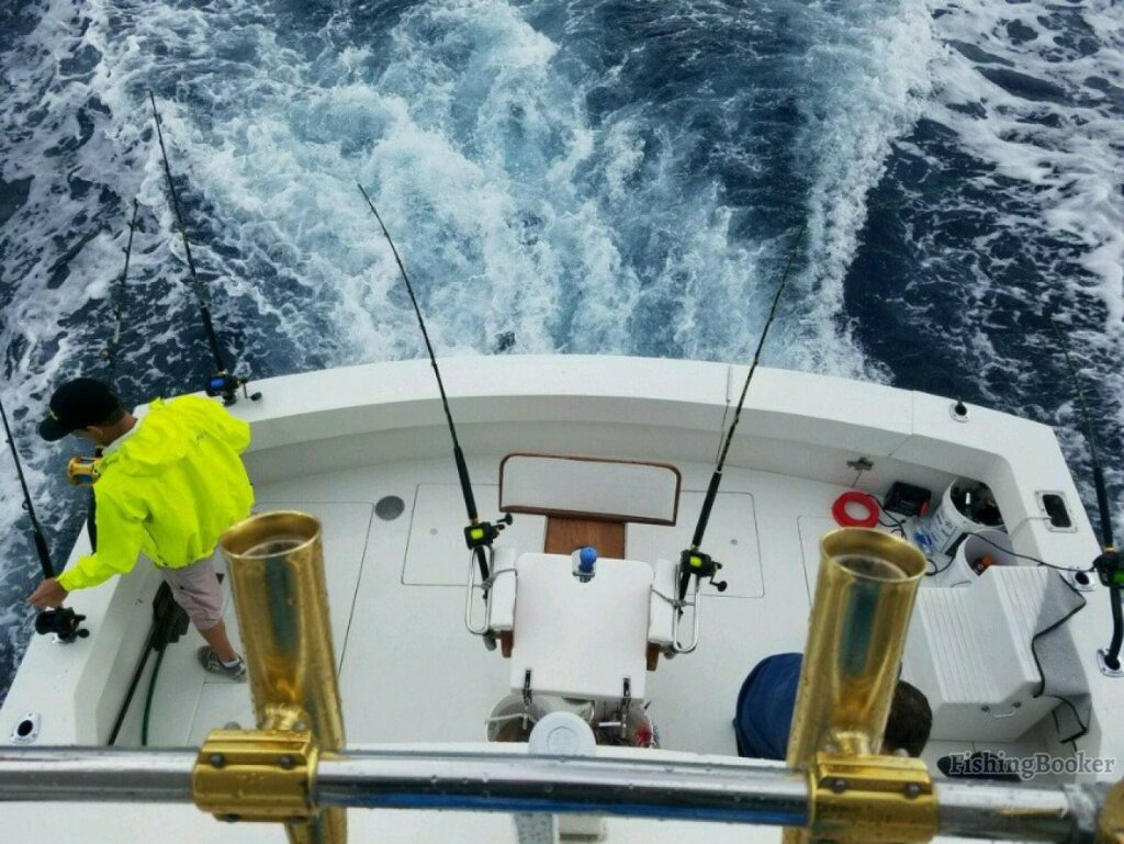 How to choose a fishing charter: The view down into the cockpit of a sportfishing boat from the flybridge above, with a fighting chair in the middle and an angler in a green jacket on the left. Rod holders are visible on the rail in the foreground.