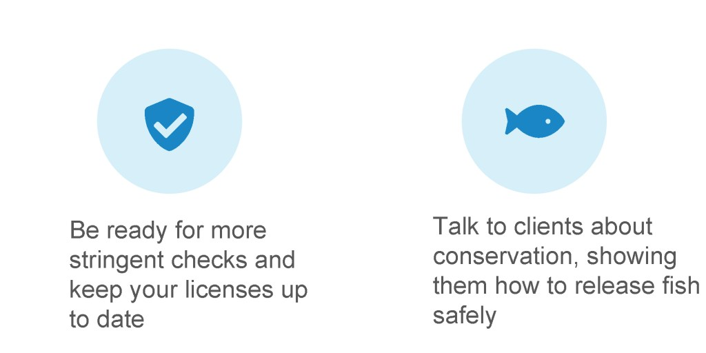 Be ready for more stringent checks and keep your licenses up to date. Talk to clients about conservation, showing them how to release fish safely.