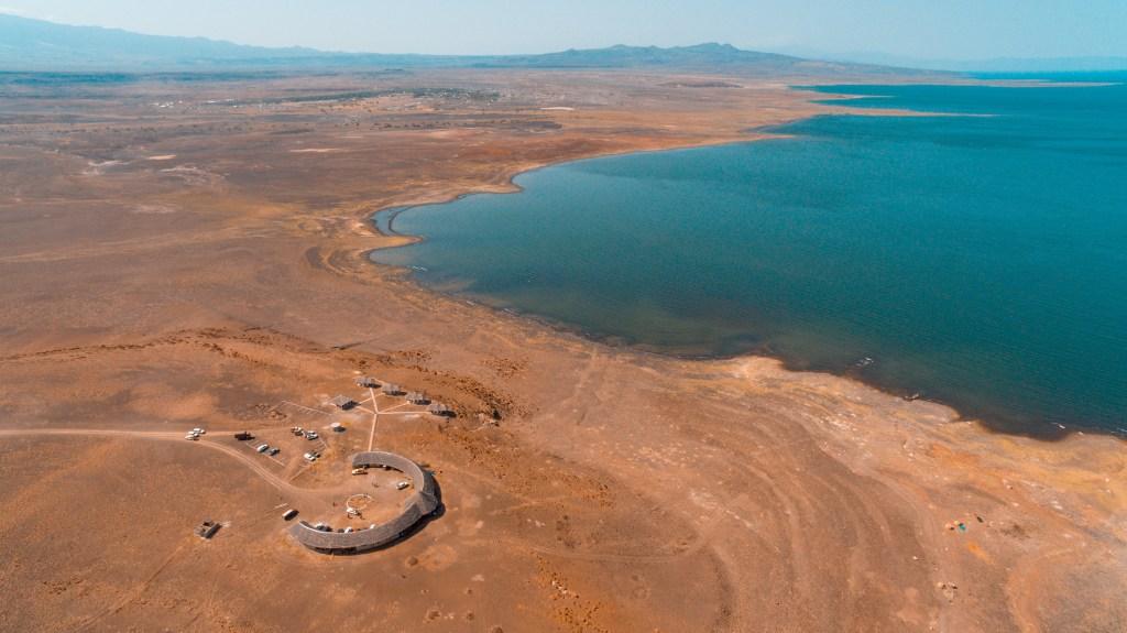 an aerial view of a desert museum in Loyangalani, Lake Turkana