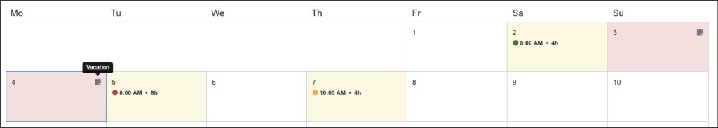 Screenshot of new calendar on web