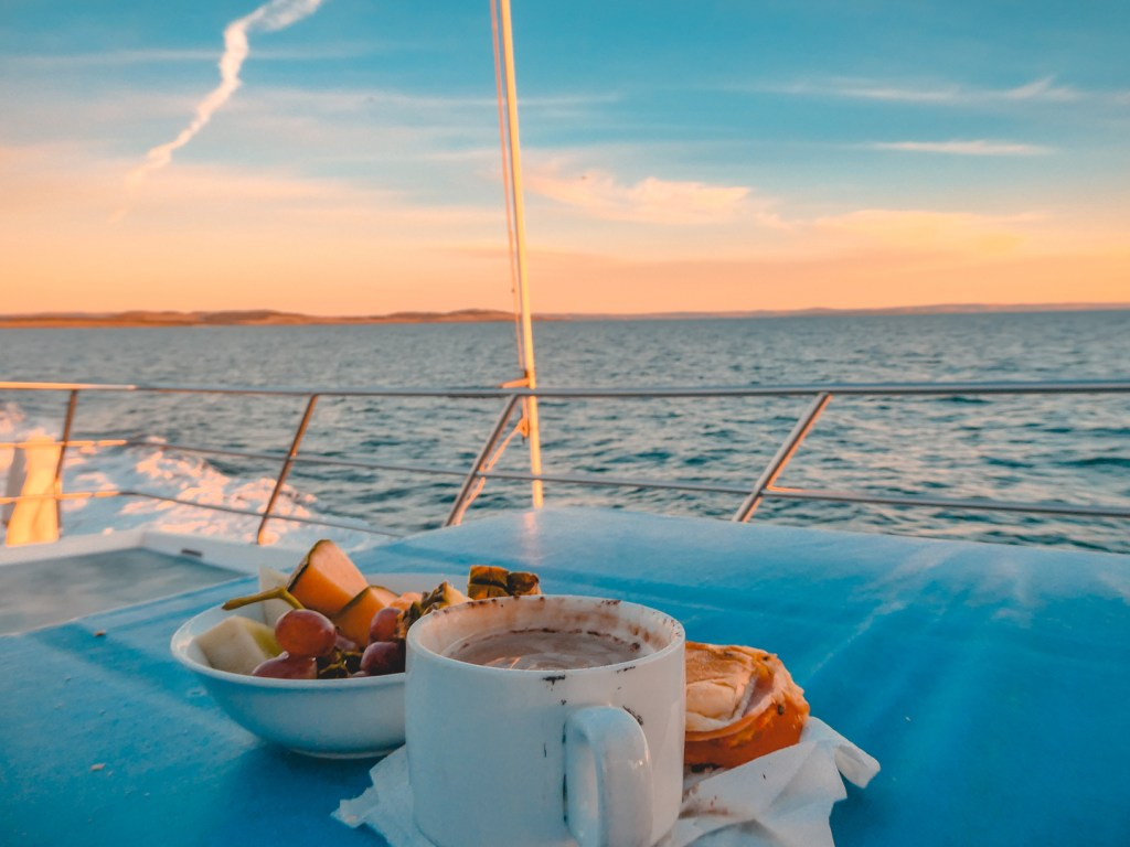 fruit and coffee on a boat