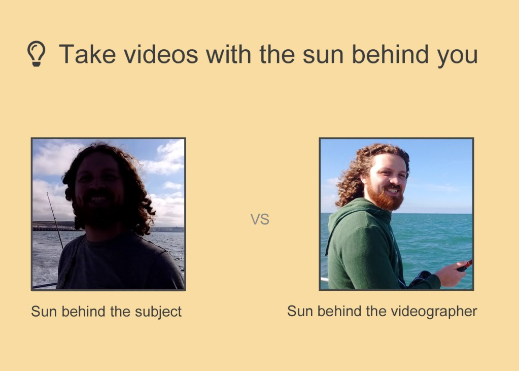 two images, one with the sun behind the person and one with the sun behind the photographer