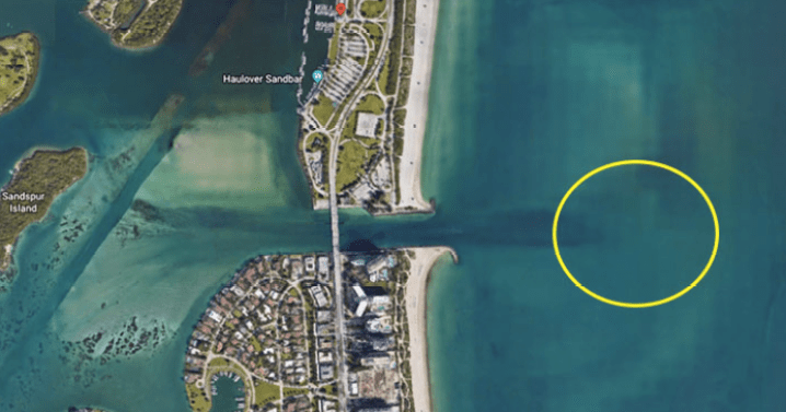 A map showing Haulover Inlet fishing spots