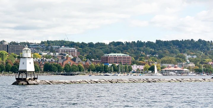 View of Burlington cityscape and Lake Champlain which is great for family fishing