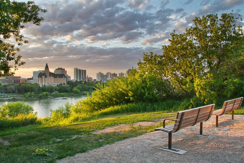 a riverside view of Saskatoon, SK