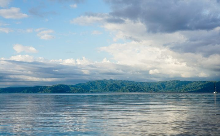 View across Golfo Dulce, Costa Rica with mountains in the distance