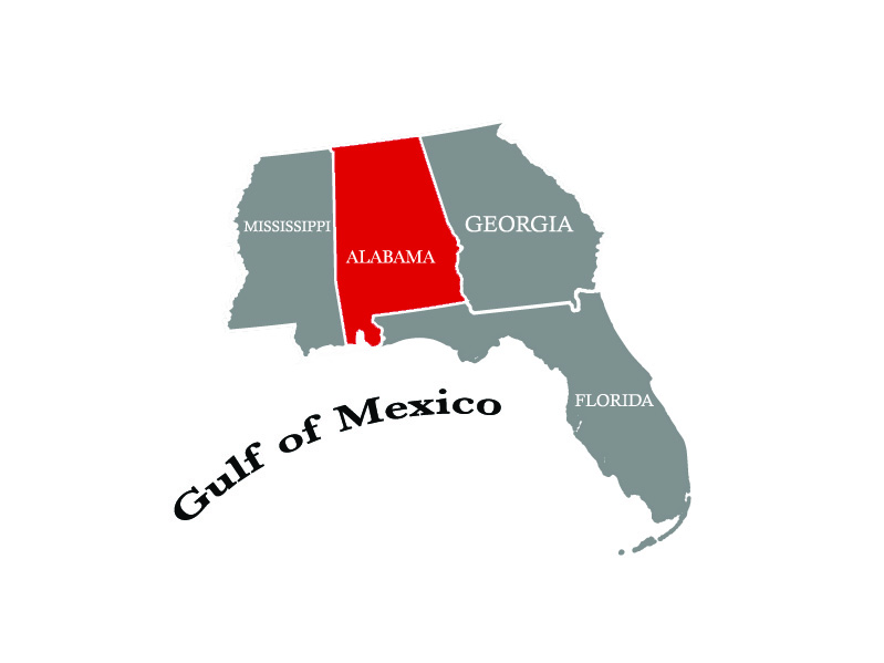 map of alabama and its surrounding states