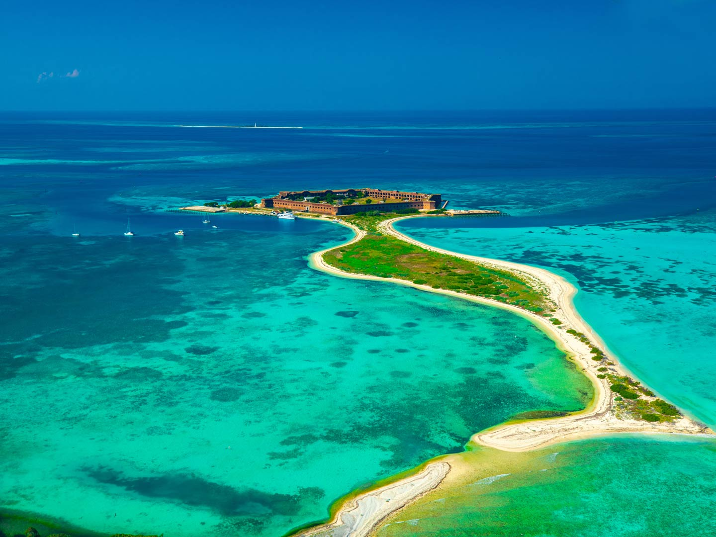 An aerial view of Garden Key on Dry Tortugas showing the Jefferson Fort