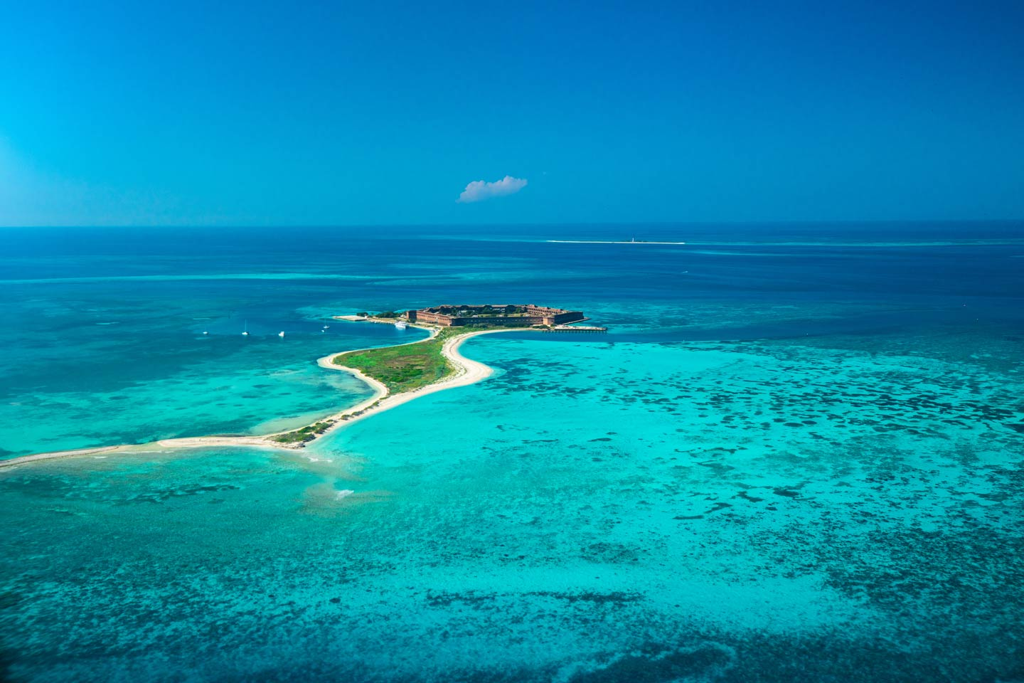 An aerial view of the Dry Tortugas National Park