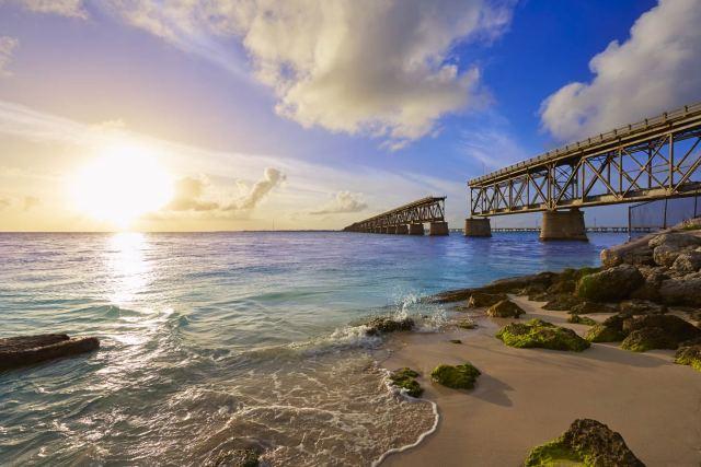 The sunset at the Bahia Honda Bridge in Florida