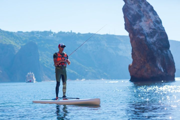 A man on a stand up paddle board holding a fishing rod with a large rock in the background