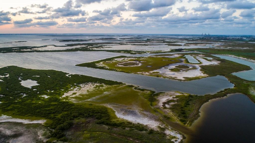 Aerial shot of Laguna Madre