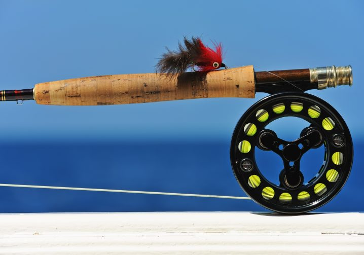 a saltwater fly fishing reel and rod.