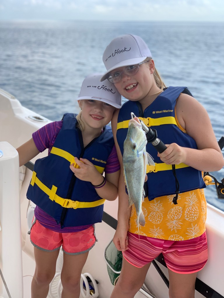 happy sister anglers aboard Gale Force Fishing