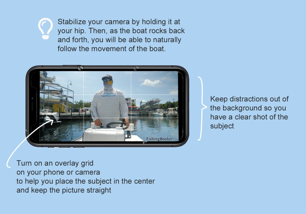 example video with annotations noting the benefits of an overlay grid, few distractions in the background, and a tip for stabilising the image on a boat.