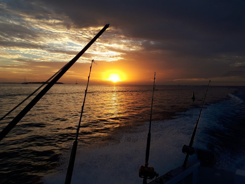 sunset from a fishing boat