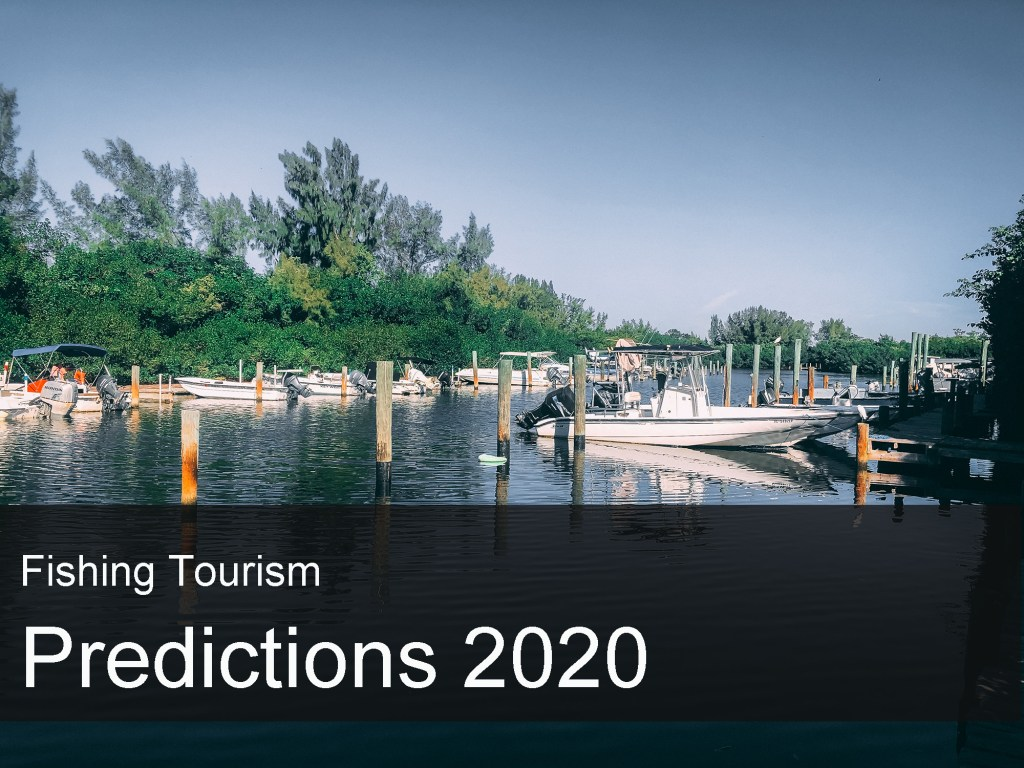 """boats in marina with text overlay saying """"Fishing Tourism Predictions 2020"""""""