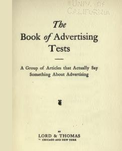 The Book of Advertising Tests