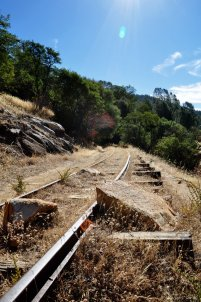 Rails of the Hetch Hetchy & Yosemite Valley Railroad.