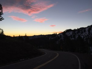 Sunrise from Sonora Pass on Highway 108.