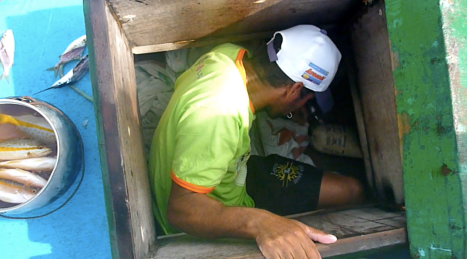 On long fishing trips the men sleep in the cramped space inside the boat