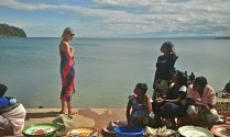 Emily chatting with the fish sellers on the lake shore -Samsung Galaxy S