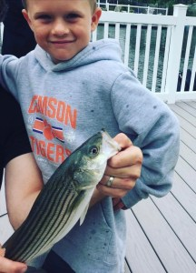 Kids love striped bass fishing.