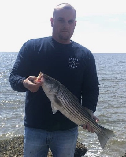 Fishing Report Update - April 25, 2018 : Chris caught this striped bass fishing Great Bay.