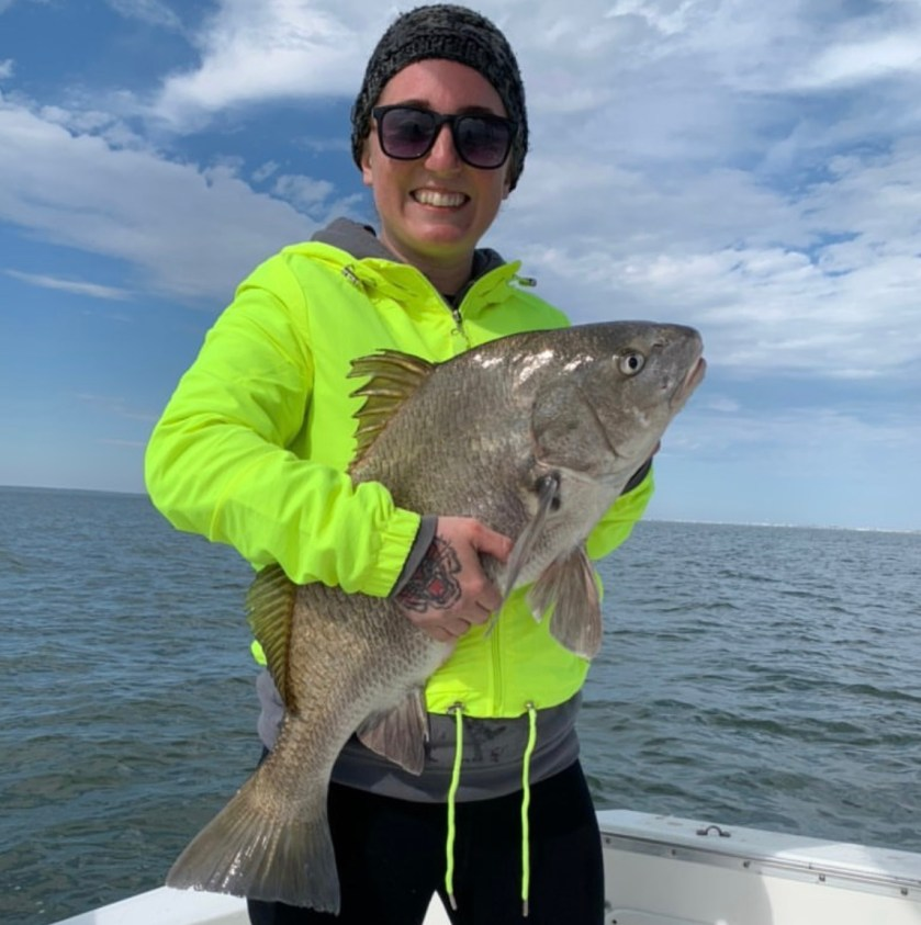 Here's Dana with one of six black drum today. Spring time fishing LBI's southern bay with clam is prime for black drum.