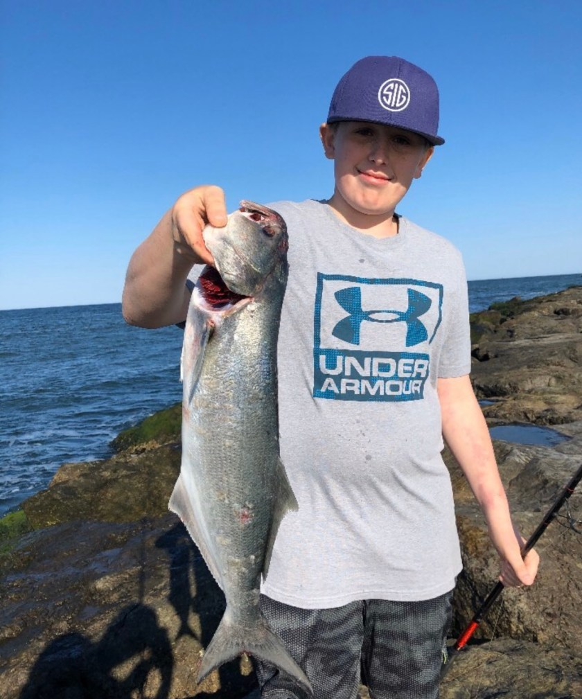 Liam Velit caught this bluefish on LBI May 7th.