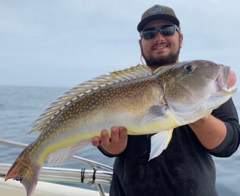 Here's Fish Head Alumni Captain Nick Degennaro with a health golden tilefish.