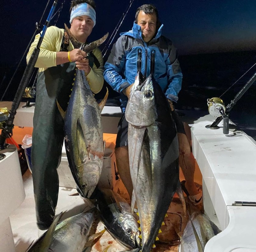Here's a photo that Captain Jeff took of his mate Dan and boss, boat owner Ilan, one night tuna fishing. This trip was a good one with great fishing and no tackle failure. When the bite turns on and the cockpit is mayhem tackle failure is a common ailment on most boats. Don't let it be yours!