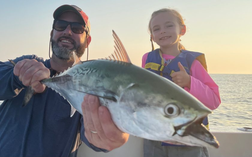 Here's Ryan P. and his 7 year old daughter aboard Fish Head Charters. This was one of a handful of albies this morning.
