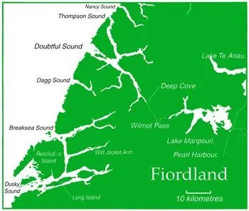 Fiordland Coast Map.