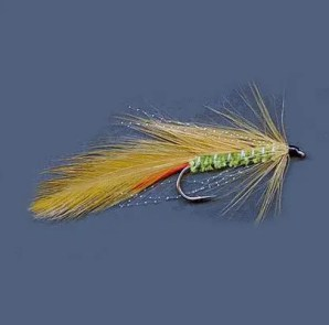 Ginger Mick trout lure with green body.