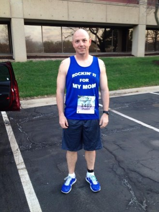 Dustin Danner ran Rock the Parkway, his first half marathon, in honor of his mother who passed away 6 days prior. He rocked his first half in 1:52:14.