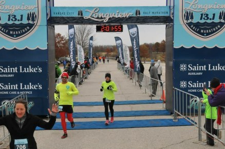 Russell Wenz and Shelly Byrd cross the finish line.