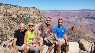 Fishing River Club members Jody and Linda Pasalich, Don Ledford and Russell Wenz crossed the Grand Canyon in a 31-mile rim-to-rim adventure.