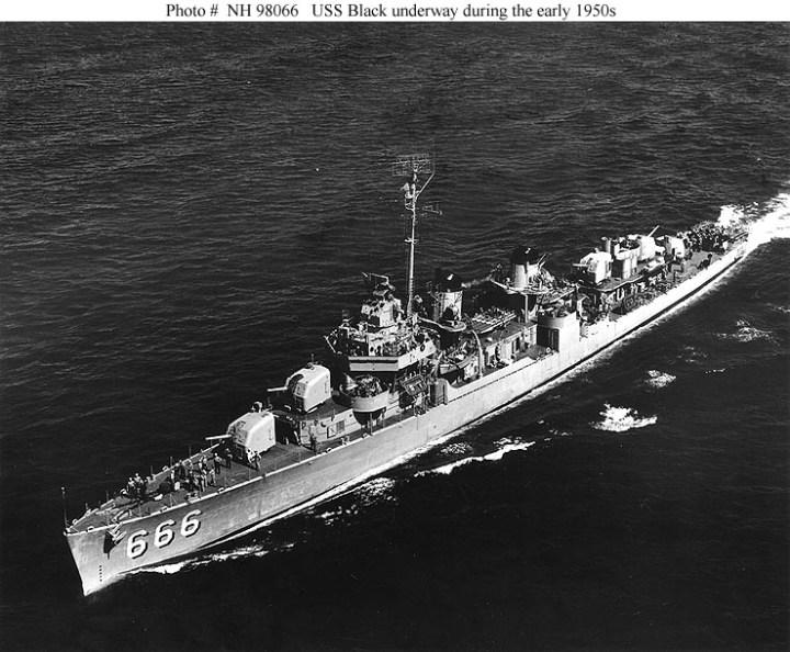 U.S.S. Black underway in the early 1950
