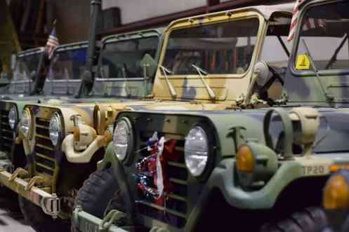 Vintage Jeeps from WWII through the 1980s line the Montgomery County Military Museum