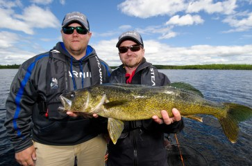 Danny and Pete with a Wabatongushi Lake Walleye.