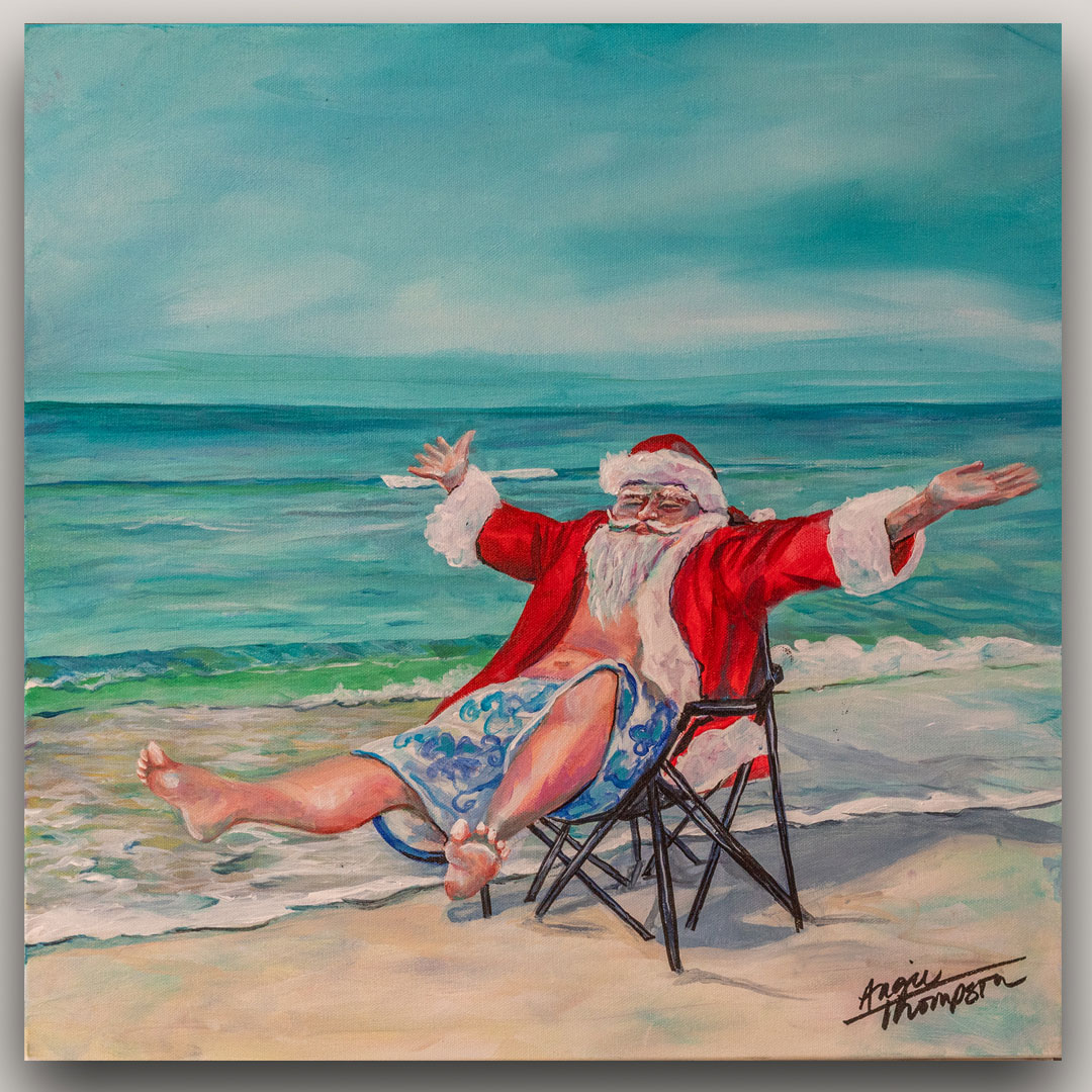 painting of santa clause on the beach celebrating christmas