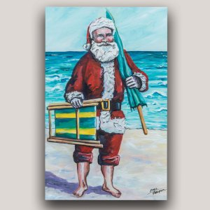 Painting of Santa Claus on beach with his chair and umbrella
