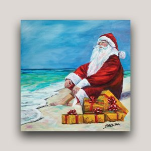 Painting of Santa Claus on the beach with Christmas presents