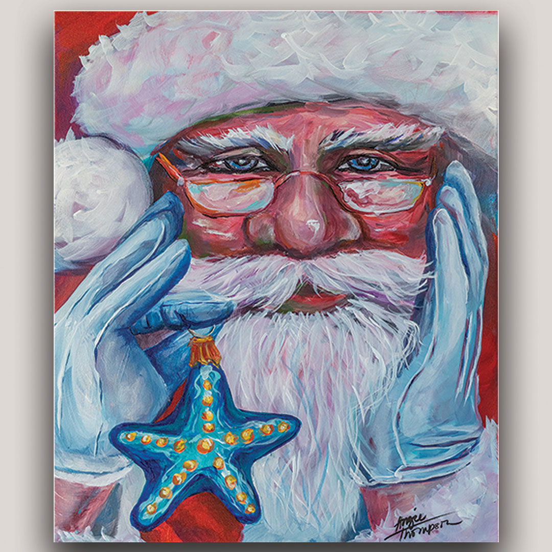 Painting of Santa Claus holding a starfish Christmas ornament