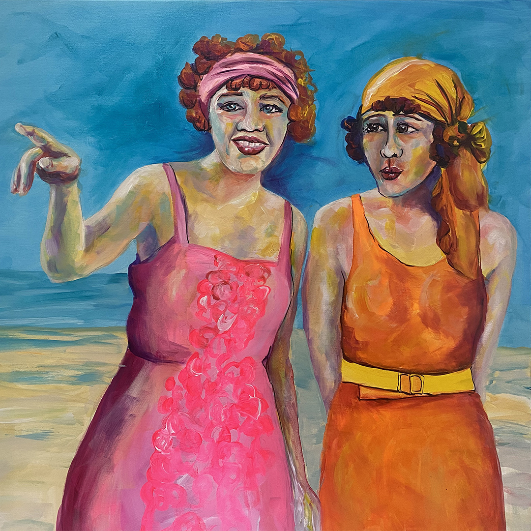 Painting of two women from the 40's on the beach
