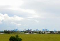 The Sacramento skyline from afar.