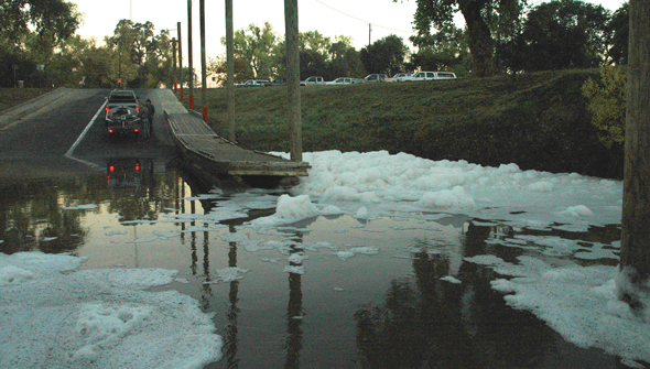 Foam filled the boat launch area at Knight's Landing, CA