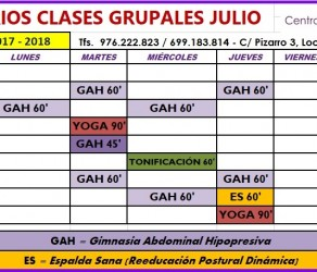 Clases Grupales en Julio